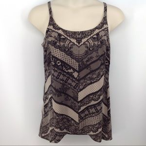 CAbi Monaco Black and Tan lace look cami.
